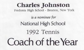 National High School 1992 Tennis Coach of the Year nomination certificate.