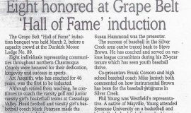 Eight honored at Grape Belt 'Hall of Fame' induction. 2003.