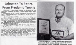 Johnston To Retire From Fredonia Tennis. 1985.