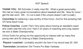 CSHOF induction speech, page 1. February 20, 2017.