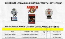 Bruce Lee and Arnold Legends of Martial Arts induction. March 6, 2020.