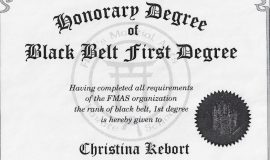 Black Belt First Degree certificate. December 13, 1996.