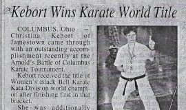 Kebort Wins Karate World Title. March 12,2001.