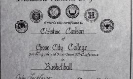 Chris Carlson was a First-Team All-Conference basketball selection in 1990 at Grove City College.