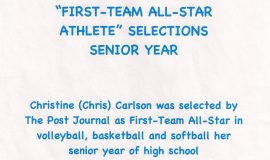 Chris Carlson was a <em>Post-Journal</em> First-Team All-Star selection for volleyball, basketball, and softball in her senior year of high school.
