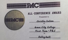 Chris Carlson was an All-Conference volleyball selection in 1991 at Grove City College.