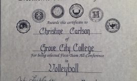 Chris Carlson was a First-Team All-Conference volleyball selection in 1989 at Grove City College.