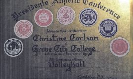 Chris Carlson was an All-Conference volleyball selection in 1990 at Grove City College.