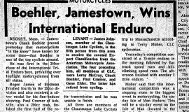 Boehler, Jamestown, Wins International Enduro.  June 7, 1965.