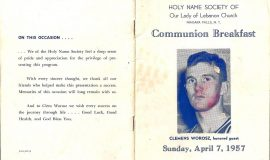 Communion Breakfast program. April 7, 1957.