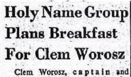 Holy Name Group Plans Breakfast For Worosz. April 1957.