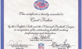 Coach of the Week certificate from Buffalo Bills, 2006.