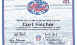 Coach of the Week certificate from Buffalo Bills, 2014.