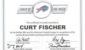 Coach of the Week certificate from Buffalo Bills, 2016.