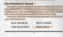 WNYSHOF Presidents Award