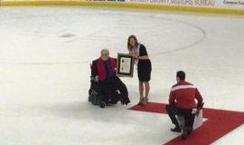"Dan Stimson receives his ""Cradle of Coaches"" award. January 2015"