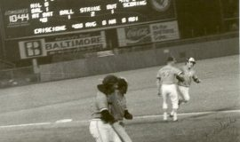 Dave Criscione rounding third after hitting game-winning homer. July 25, 1977.