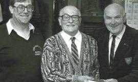 Dennis Meszaros, left, with fellow CSHOF inductees Joe Nalbone and Lyle Parkhurst.