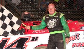 Dick Barton after his 75th Super Late Model race victory at Stateline Speedway on July 14, 2012
