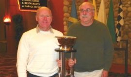 Dick Barton, shown with crew chief John Lamb (right) receives Stateline Speedway President's Award at 2012 Stateline Speedway banquet.