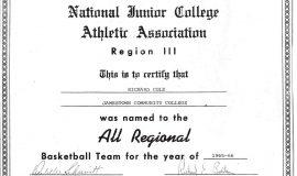 NJCAA All Regional Basketball Team, 1966.