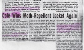 Cole Wins Moth-Repellent Jacket Again.