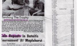 Cole Repeats In Bataitis Tournament At Maplehurst.