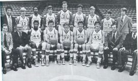 Donn Johnston is #40 in the front row with the 1972-73 University of North Carolina basketball team.