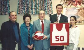 The retirement of Donn's jersey number in 1999.