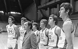 Legendary UNC coach Dean Smith with players from his 1972-73 team. Left to right: Bobby Jones, John O'Donnell, Ray Hite, George Karl, Darrell Elston, and Donn Johnston.