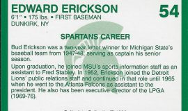 Michigan State baseball card (back).