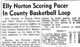 Elly Norton Scoring Pacer In County Basketball Loop. January 30, 1946.