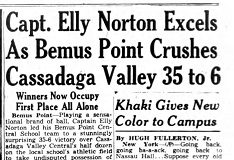 Capt. Elly Norton Excels As Bemus Point Crushes Cassadaga Valley 35 to 6. October 26, 1942.