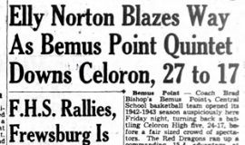 Elly Norton Blazes Way As Bemus Point Quintet Downs Celoron, 27 to 17. November 28, 1942.