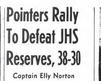 Pointers Rally To Defeat JHS Reserves, 38-30. February 19, 1943.