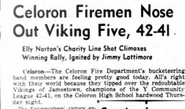 Celoron Firemen Nose Out Viking Five, 42-41. March 19, 1943.