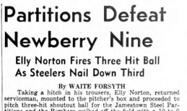Partitions Defeat Newberry Nine. May 22, 1946.