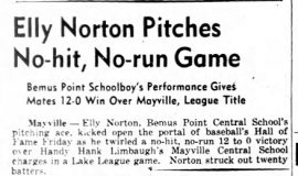 Elly Norton Pitches No-hit, No-run Game. May 29, 1943.