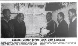 Coaches Confer Before AAA Golf Sectional. June 2, 1966.
