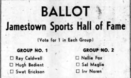 Ballot for Jamestown Sports Hall of Fame. July 9, 1953.