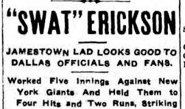 """""""Swat"""" Erickson. March 13, 1914."""