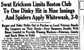 Swat Erickson Limits Boston Club. August 8, 1930.