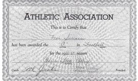 Clarion State College football certificate.  1966-67.