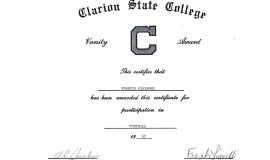 Clarion State College football certificate.  1967.