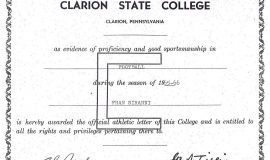 Clarion State College football certificate.  1965-66.