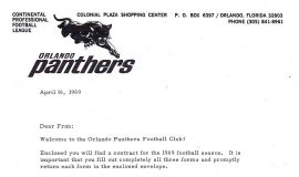 Orlando Panthers letter, 1969.