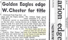 Golden Eagles edge W. Chester for title. November 23, 1966.