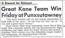 Great Kane Team Win Friday at Punxsutawney. 1965.