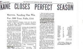 Kane Closes Perfect Season. October 29, 1962.