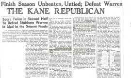Kane Wolves Finish Season Unbeaten, Untied; Defeat Warren. 1962.